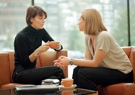 conversation women couch