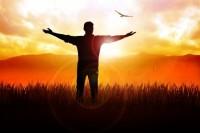 Man hands silhouette sunset